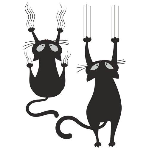 Комплект наклеек Woozzee Сползающие коты, водостойкие, многоразовые