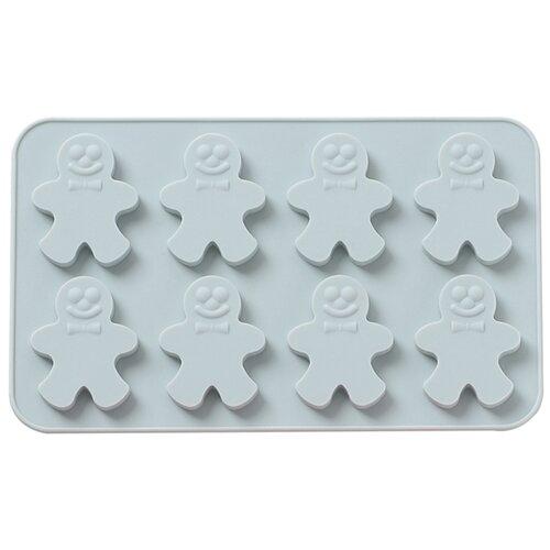 Силиконовая форма для конфет, печенья, желе, шоколада Имбирный человечек, 8 ячеек, цвет серо-голубой, 19х11,6х0,9 см, Kitchen Angel KA-SFRM33-01 недорого