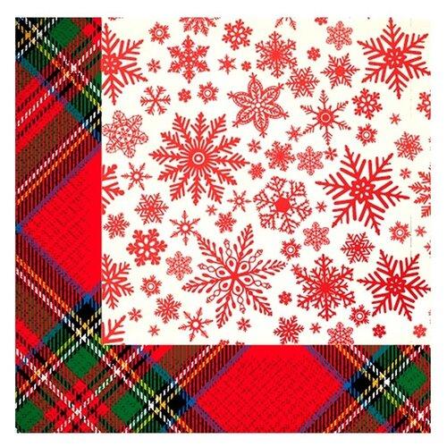 Купить Салфетки бумажные Gratias Снежная шотландка 3-слойные 33cm 20шт 4095150