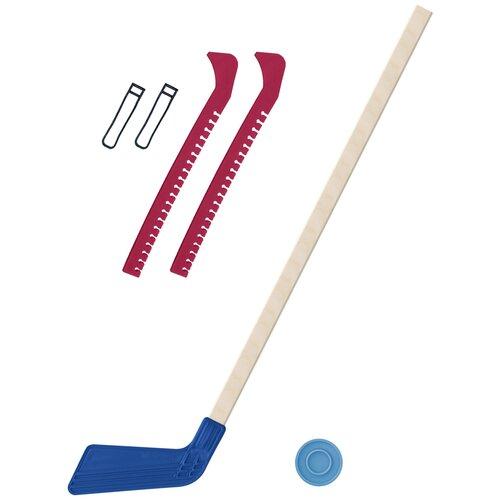 Набор зимний: Клюшка хоккейная синяя 80 см.+шайба + Чехлы для коньков красные, Задира-плюс
