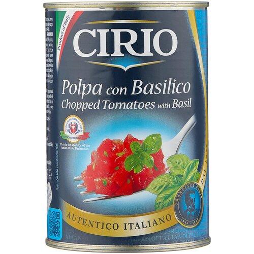 томаты очищенные резаные в томатном соке bioitalia 400 г Томаты Polpa con Basilico очищенные резаные с базиликом Cirio, 400 г