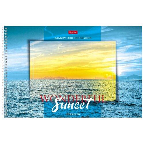 Альбом для рисования 40л А4 спираль Прекрасный закат, перф.в асс. 067330 4 шт. недорого