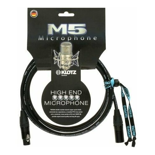 Klotz M5FM03 M5 микрофонный кабель XLR(F)/ XLR(M), 3 м, черный, разъемы Neutrik