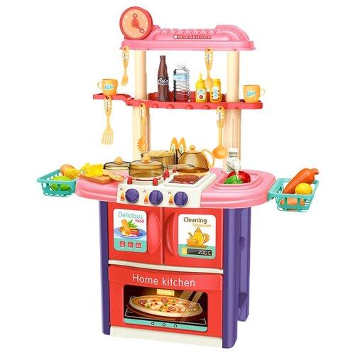 Кухня с посудой и продуктами, 51 предмет, со светом, звуком и водой, 86см (розовая) большой набор кухня с посудой и продуктами 55 предметов со светом звуком и водой 82см