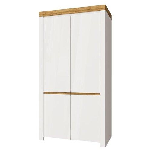 Шкафы в гостиную Anrex Шкаф 2DG с полками, TAURUS, цвет белый\дуб вотан шкафы с полками ширина 90 см