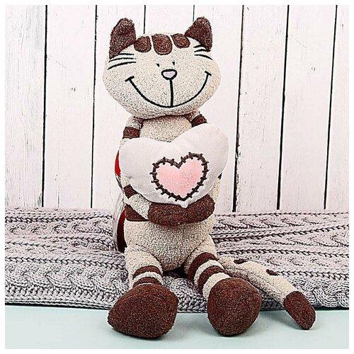 MaxiToys Мягкая игрушка «Кот Полосатик с сердцем», 33 см