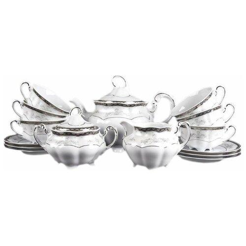 Чайный сервиз на 6 персон 15 предметов Cmielow Болеро /Платиновый узор (220 мл) / 034732 сервиз чайный фарфоровый на 6 персон 220 мл royal classics 14 предметов