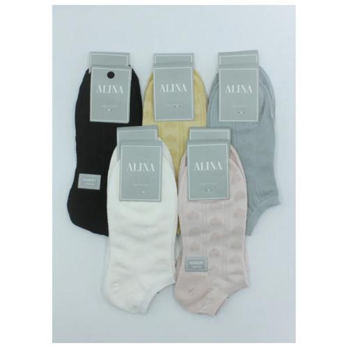 Носки женские Alina 2050 / 10 пар, белые, розовые, голубые, горчичные, черные, размер 37-41