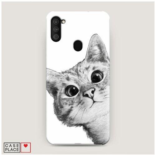 Чехол Пластиковый Samsung Galaxy M11 Кот рисунок черно-белый