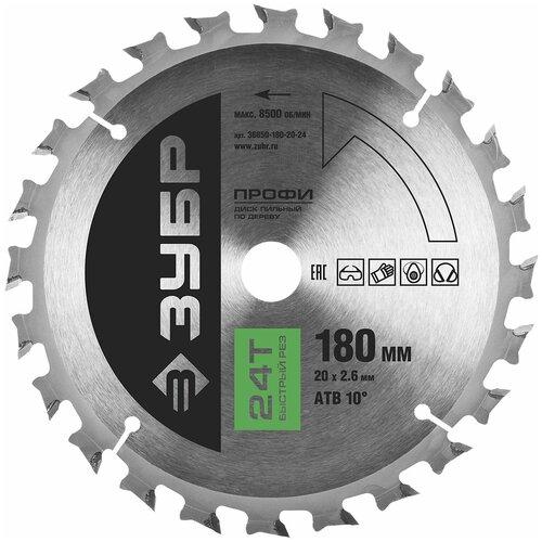 Фото - Пильный диск ЗУБР Профи 36850-180-20-24 180х20 мм пильный диск зубр эксперт 36901 180 20 24 180х20 мм