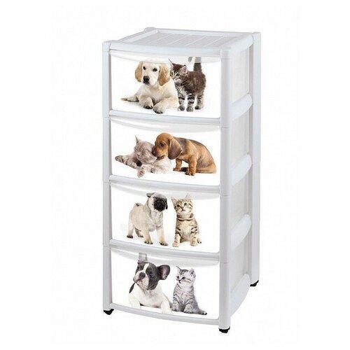 Купить Комод Бытпласт Домашние животные (белый, 4х секционный), Детские комоды