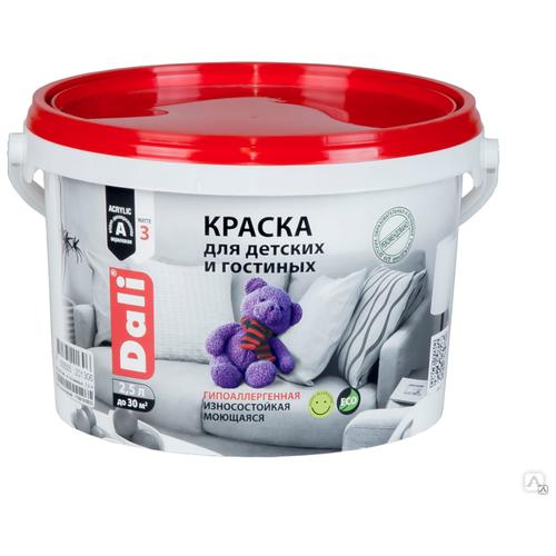 Краска акриловая DALI для детских и гостинных гипоаллергенная для детской моющаяся матовая супербелый 2.5 л