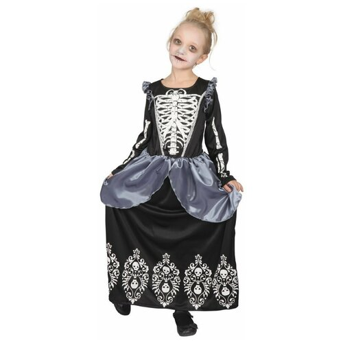 Купить Платье Bristol Novelty Skeleton Princess Принцесса-скелет (ПБ1755), черный, размер 134-146, Карнавальные костюмы