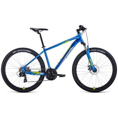 Горный (MTB) велосипед FORWARD Apache 27.5 2.0 Disc (2021) синий/зеленый 19 (требует финальной сборки) горный mtb велосипед forward apache 27 5 1 2 s 2021 желтый зеленый 19 требует финальной сборки