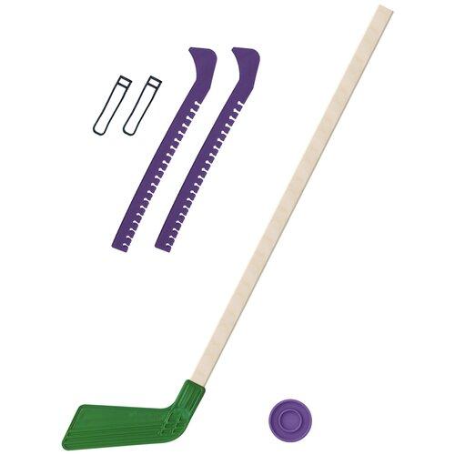 Набор зимний: Клюшка хоккейная зелёная 80 см.+шайба + Чехлы для коньков фиолетовые, Задира-плюс