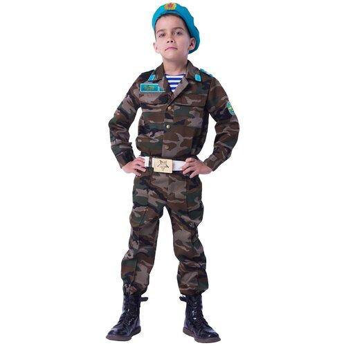 Купить Костюм пуговка Десантник (2050 к-18), коричневый/голубой, размер 116, Карнавальные костюмы