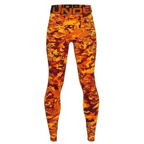 Леггинсы Under Armour ColdGear Armour Printed Leggings, размер YXL, orange-850