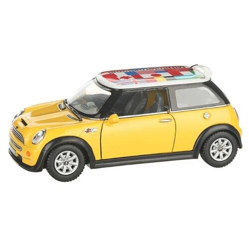 Купить Легковой автомобиль Serinity Toys Mini Cooper S с флагом (5059DFKT) 1:28, 12.5 см, желтый, Машинки и техника