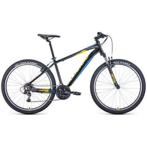 Горный (MTB) велосипед FORWARD Apache 27,5 1.0 (2021) черный/желтый 17 (требует финальной сборки) горный mtb велосипед forward apache 27 5 1 2 s 2021 желтый зеленый 19 требует финальной сборки