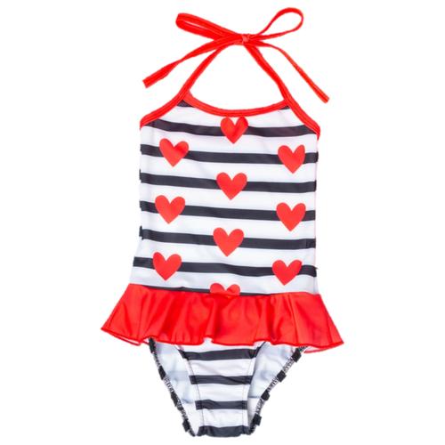 Купить Купальник Kaftan размер 122-128, белый/черный/красный, Белье и купальники