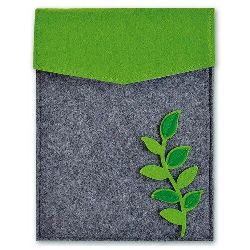 Купить Феникс+ Папка фетровая Зеленые листья 28x22 см (46125) серый/ зеленый, Файлы и папки