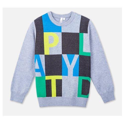 Джемпер playToday размер 110, темно-серый/серый/голубой/светло-зеленый брюки playtoday classic girls 394424 размер 122 темно серый