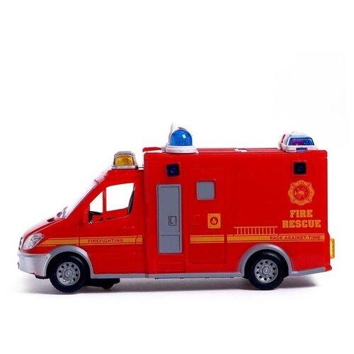 Фото - АВТОГРАД Машина Пожарная служба, работает от батареек, свет и звук, SL-04692A 5187451 автоград машина металлическая полицейский джип инерц свет и звук масштаб 1 43 sl 2493e 1740075