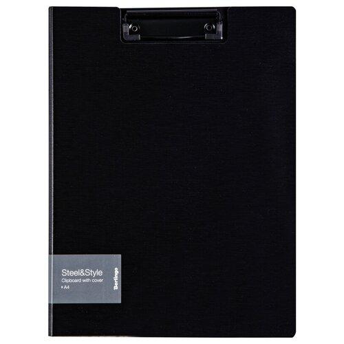 Berlingo Папка-планшет с зажимом с крышкой Steel&Style A4, пластик черный