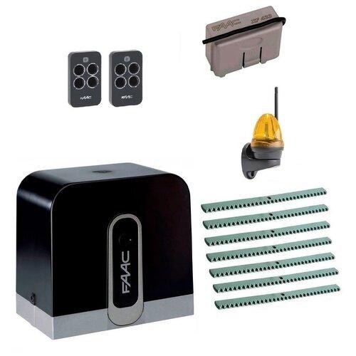Автоматика для откатных ворот FAAC C720KIT-LK7, комплект: привод, радиоприемник, 2 пульта, лампа, 7 реек автоматика для откатных ворот faac c720kit l8 комплект привод радиоприемник 2 пульта лампа 8 реек