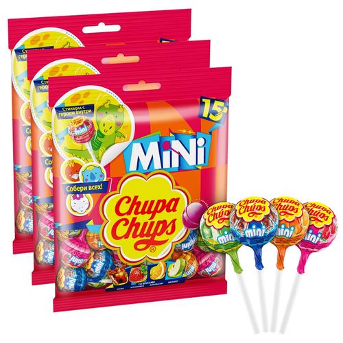 карамель chupa chups xxl flavors playlist ассорти 60 шт Карамель Chupa Chups mini ассорти, 90 г 3 шт.