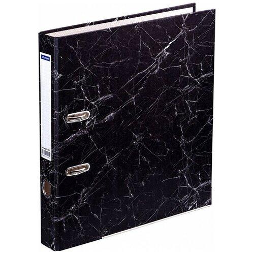OfficeSpace Папка-регистратор с металлической окантовкой A4, мрамор, 50 мм черный