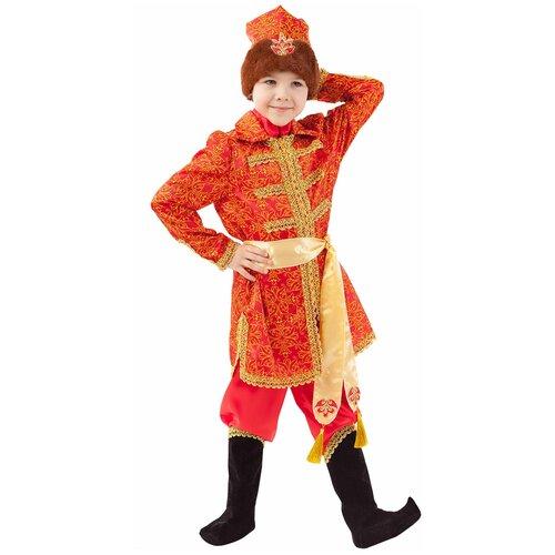 Купить Костюм пуговка Царевич Елисей (1063 к-20), красный/золотистый, размер 110, Карнавальные костюмы