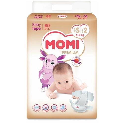 Купить Momi подгузники Premium S (4-8 кг) 80 шт., Подгузники