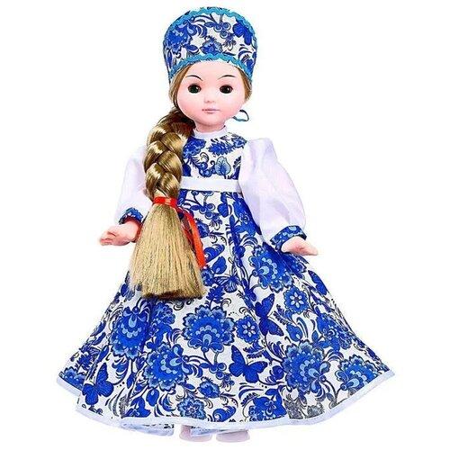 Кукла Василина Гжель ЛЕН45-26 Мир Кукол Иваново, длинные густые волосы, глаза закрываются, сувенирная кукла, 45 см