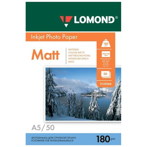 Фото - Фотобумага Lomond A5 180g/m2 матовая односторонняя 50 листов 102068 фотобумага lomond a3 230g m2 глянцевая односторонняя 50 лист