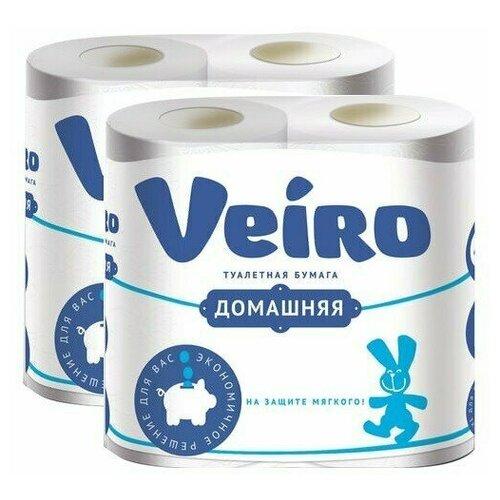 Бумага туалетная бытовая, спайка 4 шт., 2-х слойная (4х15 м), VEIRO Домашняя, белая, 1с24 (2 штуки) 128024-2 бумага туалетная бытовая спайка 4 шт 3 х слойная 4х17 5 м veiro luxoria вейро белая 5с34 3 шт