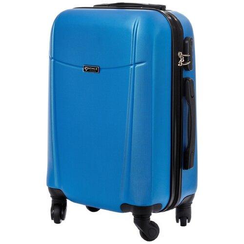 чехол на чемодан 18316 s 55 см Чемодан Bonle, премиум ABS-пластик, Голубой, размер S, 55 см, 37 л