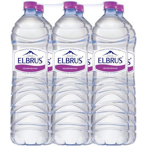 Вода минеральная Эльбрус негазированная, ПЭТ, 6 шт. по 1.5 л
