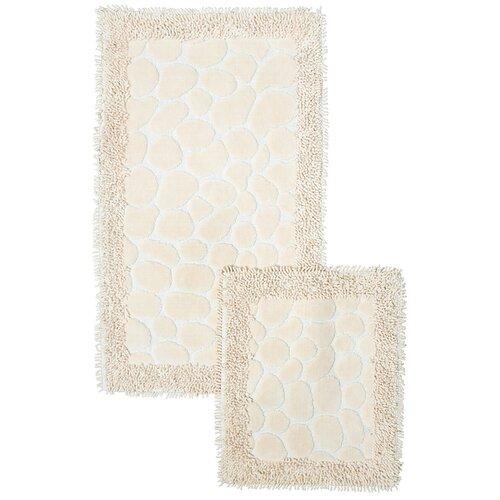 Набор ковриков для ванной комнаты Камушки,кремовый