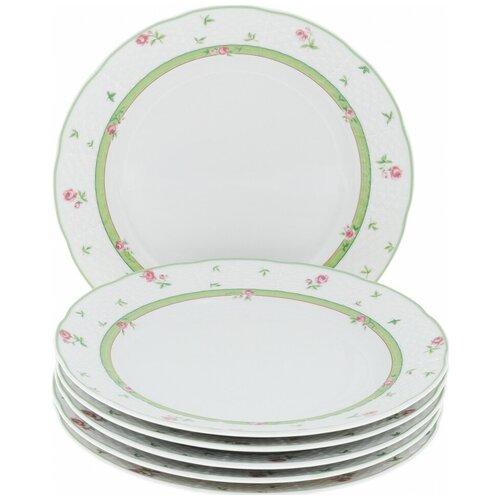 Набор тарелок Menuet (декор Роза, зеленая отводка) 6 тарелок, 24 см недорого