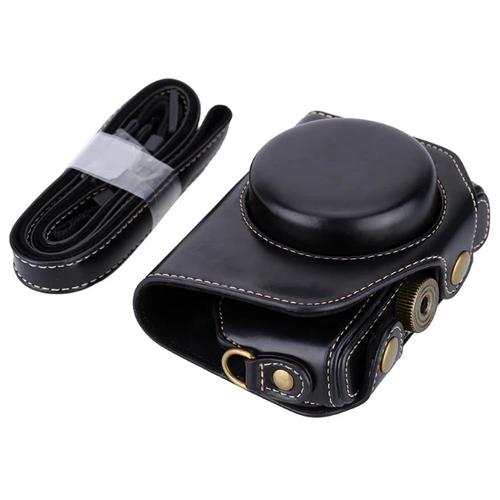 Сумка-кожух-футляр MyPads TC-155075 из качественной импортной кожи для фотоаппарата Canon PowerShot G5 X Mark II/ G7 X Mark III черного цвета