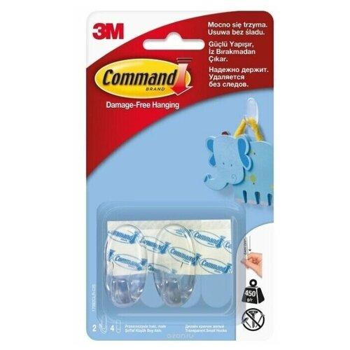 Дизайн крючок Command прозрачный малый с клейкими полосками (2 штуки в упаковке)