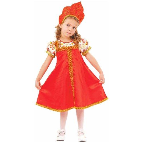 Купить Костюм пуговка Красна-девица (1013 к-18), красный/золотистый/белый, размер 116, Карнавальные костюмы