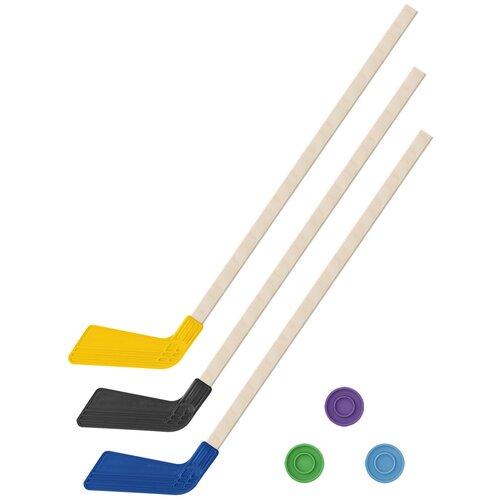 Детский хоккейный набор зима,лето 3 в 1/ Клюшки хоккейных 80 см желтая, черная, синяя + 3 шайбы, Задира-плюс