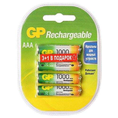 Фото - Аккумулятор GP, Ni-Mh, AAA, HR03-4BL, 1.2В, 1000 мАч, блистер, 3+1 шт. 1065392 аккумуляторы gp 1000 мач в комплекте с зарядным устройством адаптером 1а и кабелем