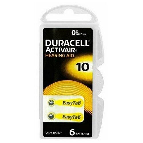 Фото - Батарейки DURACELL ZA10 (PR70) для слуховых аппаратов (6 шт) батарейки duracell activeair nugget box za675 da675 6bl