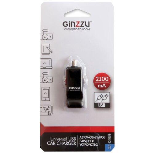 Фото - Автомобильная зарядка Ginzzu GA-4310UB, черный автомобильное зарядное устройство ginzzu ga 4310ub 2 1a черный