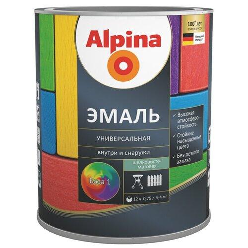 Эмаль алкидная Alpina Эмаль универсальная шелковисто-матовая, База 1, 0,75 л