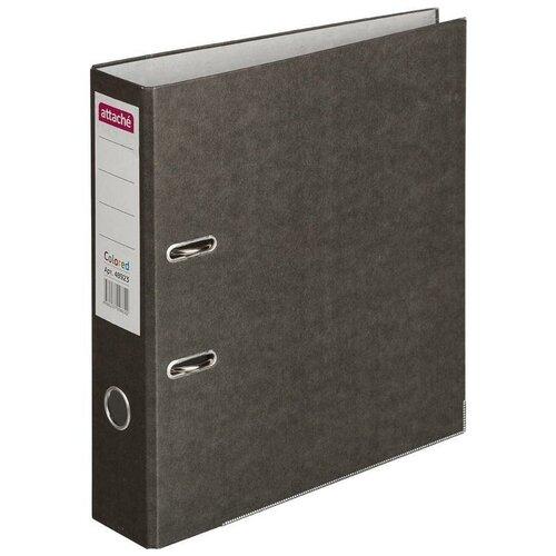 Купить Attache Папка-регистратор с металлической окантовкой Colored А4, 75 мм, бумага черный, Файлы и папки