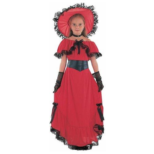 Костюм Bristol Novelty Scarlet O'Hara Скарлетт (ПБ1593), красный, размер 134, Карнавальные костюмы  - купить со скидкой